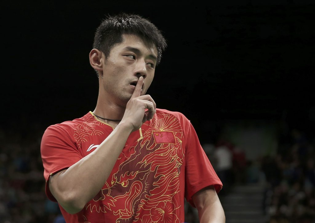 2016 Rio Olympics - Table Tennis - Semifinals - Men's Singles - Riocentro - Pavilion 3 - Rio de Janeiro, Brazil - 11/08/2016. Zhang Jike (CHN) of China reacts after winning his match against Vladimir Samsonov (BLR) of Belarus.   REUTERS/Alkis Konstantinidis FOR EDITORIAL USE ONLY. NOT FOR SALE FOR MARKETING OR ADVERTISING CAMPAIGNS.